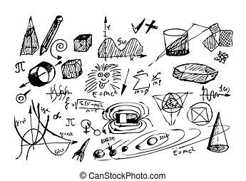 symbole, gezeichnet, physic, mathe, hand