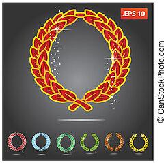 symbole, goldenes, metall, gefärbt, wappen