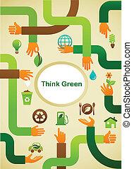symbole graphique, -, écologie, arrière-plan vert, mains, penser