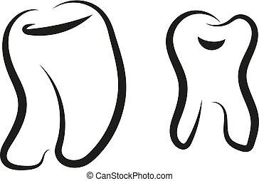 symbole, graphique, dent