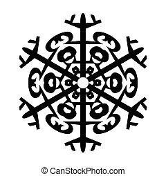 symbole graphique, isolé, illustration, arrière-plan., vecteur, blanc, design., flocon de neige, icône