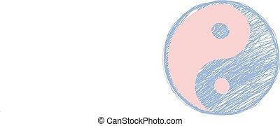symbole., griffonnage, yang, yin