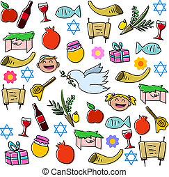 symbole, hashanah, feiertage, rosh, satz