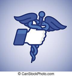 symbole, haut, caducée, like/thumbs, monde médical, icône
