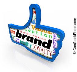 symbole, haut, fidélité marque, pouces, produit, commercialisation