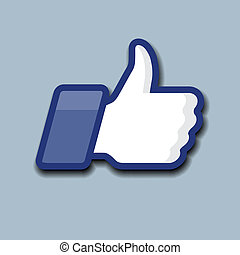 symbole, haut, gris, fond, like/thumbs, icône