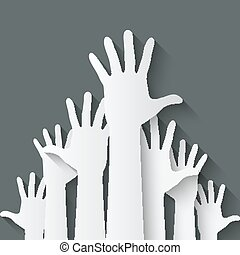 symbole, haut, mains
