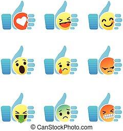 symbole, haut, pouce, emoji, ensemble, emoticons