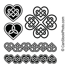 symbole, herz, knoten, -, keltisch, vektor