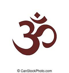 symbole, hindou, style, icône, plat, om