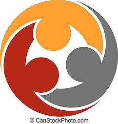 symbole, humain, communauté, rond