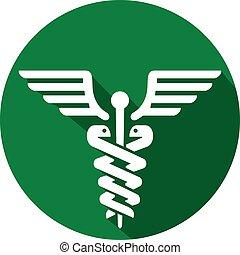 symbole, icône, monde médical, plat, caducée