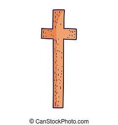symbole, icône, religion, sacré, croix, fond, blanc