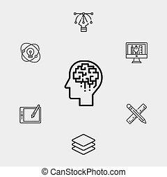 symbole, icône, signe, vecteur, cerveau