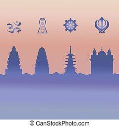 symbole., indien, temple