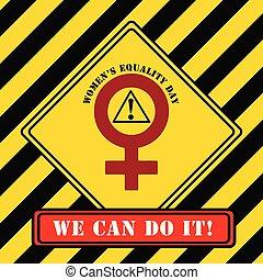 symbole, industriel, égalité, jour, femmes