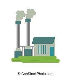 symbole, industriel, usine, buiding, pollution