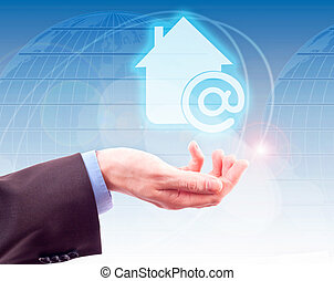 symbole, internet, maison