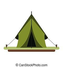 symbole, isolé, camper tente