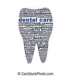 symbole, isolé, dent, blanc, soin dentaire