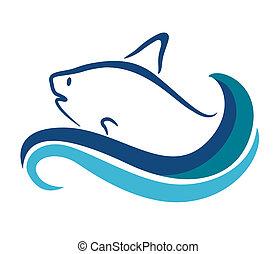 symbole, -, isolé, illustration, poisson blanc