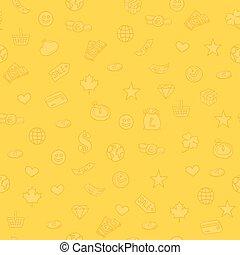 symbole, jaune, achats, seamless, fond