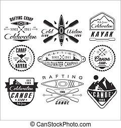 symbole, kajak, kajak, elementy, projektować, emblematy