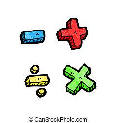 symbole, karikatur, mathe