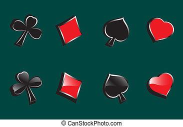 symbole, karten, glänzend, spielende