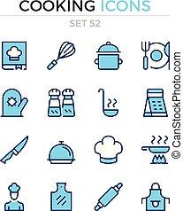 symbole, kochen, prämie, grobdarstellung, heiligenbilder, einfache , set., modern, icons., vektor, pictograms., quality., linie, design., schlanke