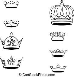 symbole, krone, silhouette, sammlung
