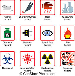 symbole, laboratorium, sicherheit