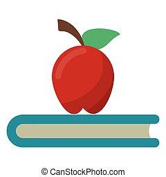 symbole, livre, école, pomme