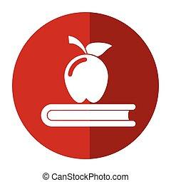 symbole, livre, ombre, école, pomme