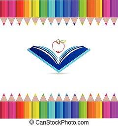 symbole, logo, education, pomme, livre