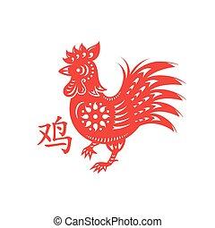 symbole, lunaire, coq