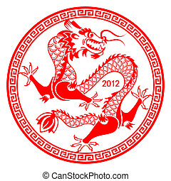 symbole, lunaire, dragon