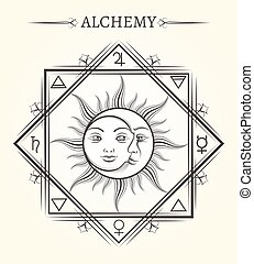symbole, lune, astrologie, mystique, soleil