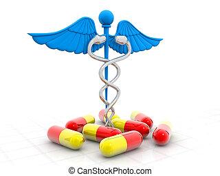 symbole médical, (caduceus), pilules