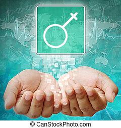 symbole médical, fond, main femelle