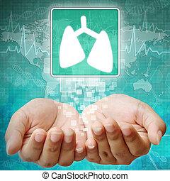 symbole médical, poumon, fond, main