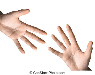 symbole, main, blanc, isolé