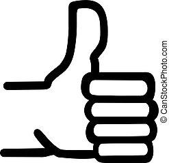 symbole, main haut, pouce