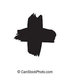 symbole, main, noir, dessiné, x, blanc