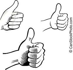 symbole, main, vecteur, humain, choix, mieux