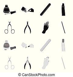symbole, manucurez ensemble, produits de beauté, stockage, maquillage, objet, isolé, signe., web.