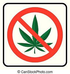 symbole, marijuana, non