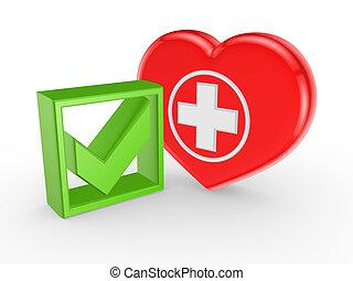 symbole, marque, tique, vert, medicine.