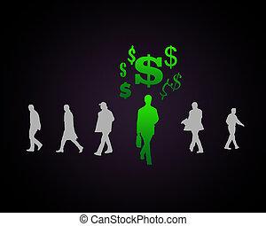 symbole monétaire, figure humaine