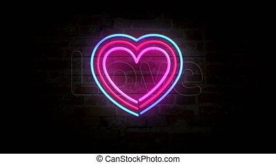 symbole, mur, coeur, néon, brique, amour